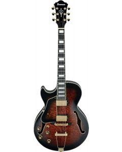 Ibanez AG Artcore Expressionist Left Handed Dark Brown Sunburst AG95QAL DBS Hollow Body Electric Guitar AG95QALDBS