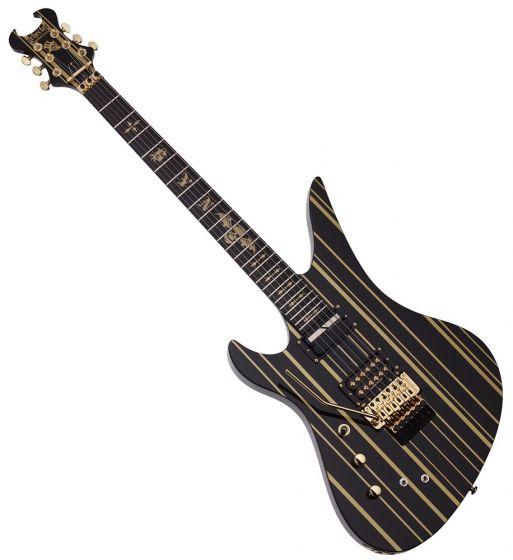 Schecter Synsyter Custom-S Left Hand Guitar Gloss Black Gold Stripes
