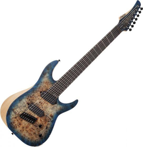 Schecter Reaper-7 Multiscale Electric Guitar in Satin Sky Burst